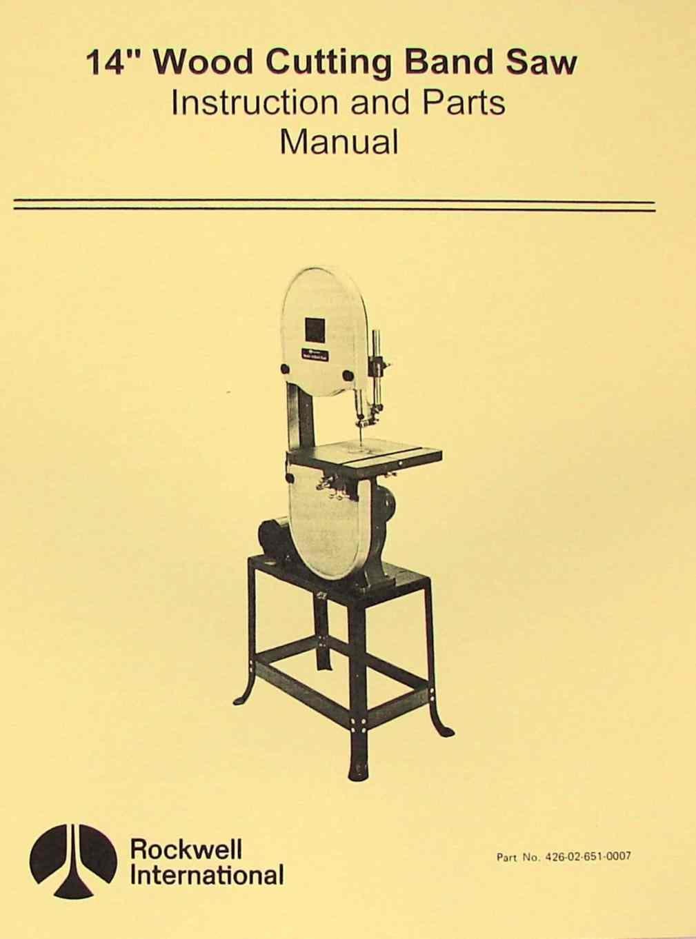 "ROCKWELL 14"" Wood Band Saw Instruction Parts Manual: Misc.: Amazon.com:  Books"