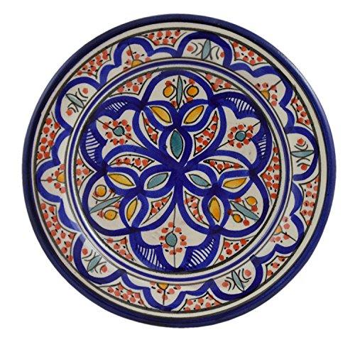 Tapas Serving Plates (Ceramic Plates Moroccan Handmade Appetizer Tapas Serving Decorative 8 inches Round)