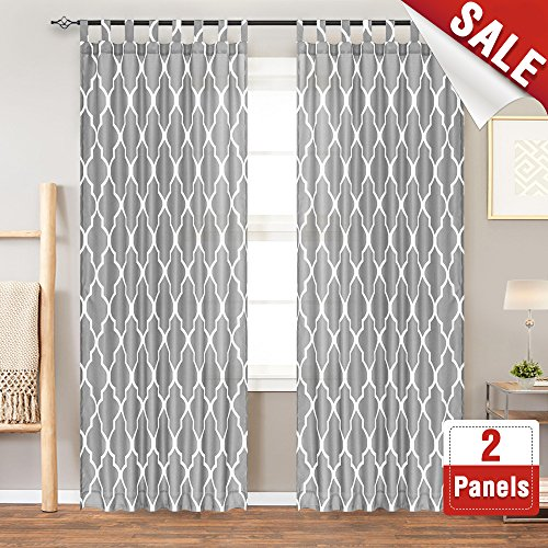 (Moroccan Tile Printed Curtains for Living Room 84 Inches Long Water Repellent Quatrefoil Printed Lattice Tab Top Canvas Curtain Panels for Bedroom, 2 Panels, Soft Grey)
