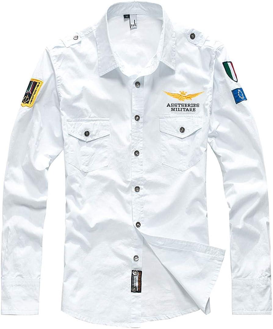 Military Mens Shirts Long Sleeve Fashion Embroider Cotton Uniform Pilot Shirt