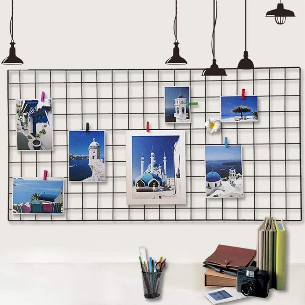 15,7 X 31,4 Zoll WJSX Upgrade Wall Grid Photo Pinboard Parete Fai da Te Griglia Reticolo Pinboard Photo Wall Memo Boards Cucina Ufficio Nero Famiglia