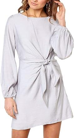 Vestidos De Camisa Mujer Cortos Fashion Elegante A-Línea Cuello Redondo Manga Larga Especial Estilo Vestido con Cinturón Color Sólido Vestido De Verano Mini Vestido Primavera Otoño: Amazon.es: Ropa y accesorios