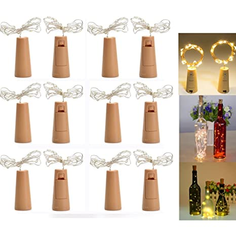 LED Botella Corcho Luces, 12 PCS corcho de vino de luces,DIY Luz de