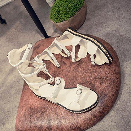 Elevin (tm) Donne Estate Peep-toe Caviglia Metallo Piattaforma Piatta Spiaggia Gladiatore Sandalo Scarpe Bianche