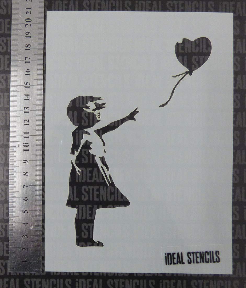 Pochoir Banksy Balloon Girl Format A5 Format de page pour personnaliser nimporte quelle surface//R/éutilisable//Lavable en Plastique ***Vente***
