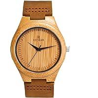 Reloj de Madera de Bambú para Mujer, Yowao Cuarzo Japonés y con la Correa de Cuero Genuino