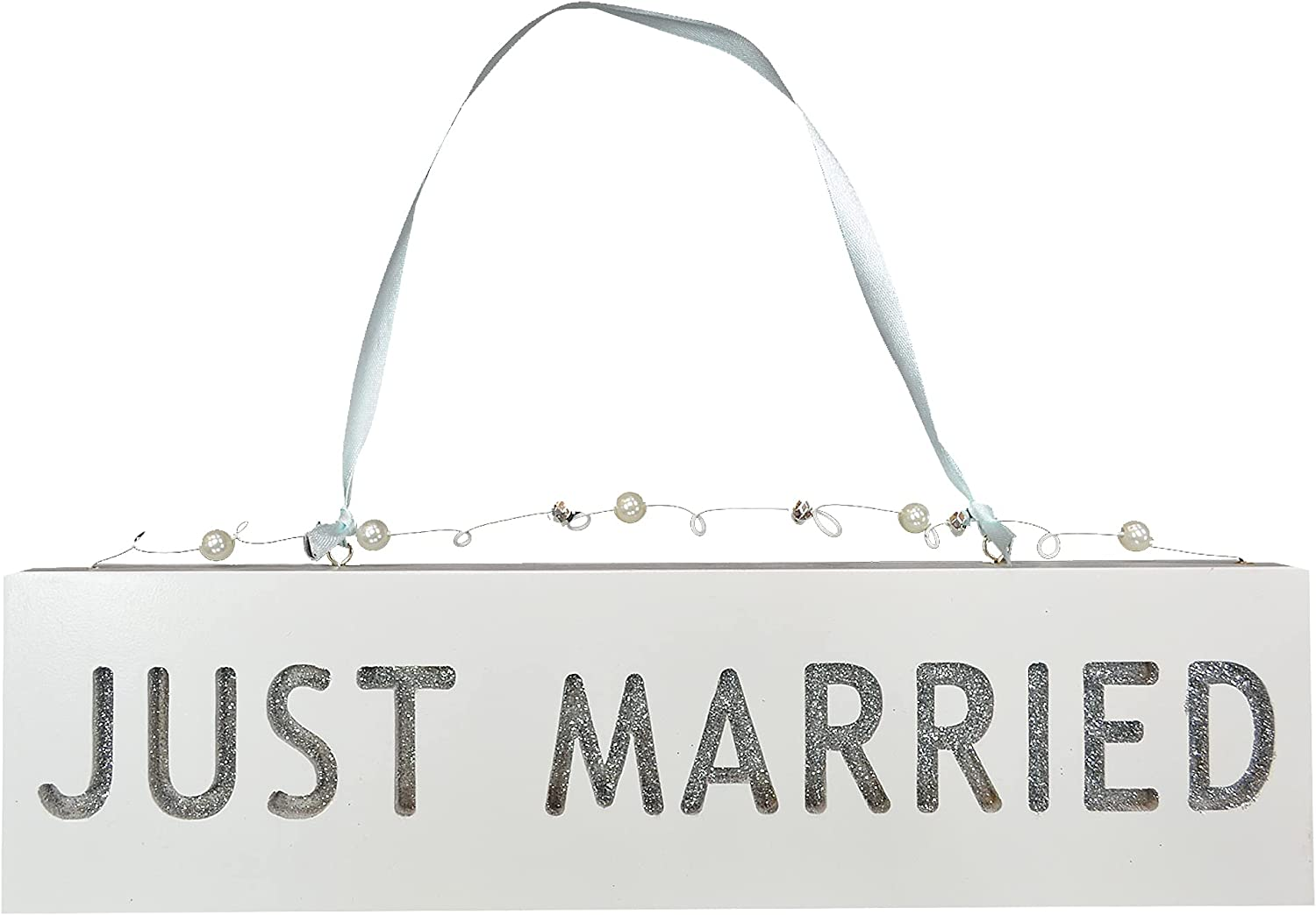 Xpressions 61459 Glitter Plaque-Just Married Engagement Wedding Present Gift Idea Home Decoration, One Size, Multicolor