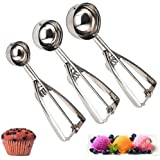Cookie Scoop Set of 3 - Stainless Steel Ice Cream Scooper with Trigger, Small, Medium and Large Cookie Scoops for Baking…