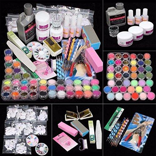 Ultimate Nail Art Tools Kit ,Ikevan 42 in 1 Combo Set Professional DIY Gel Nail Art Kit Glitter Color Powder Brush Buffer Tool Nail Tips Glue Nail Art Tools Set - Everything Glitters