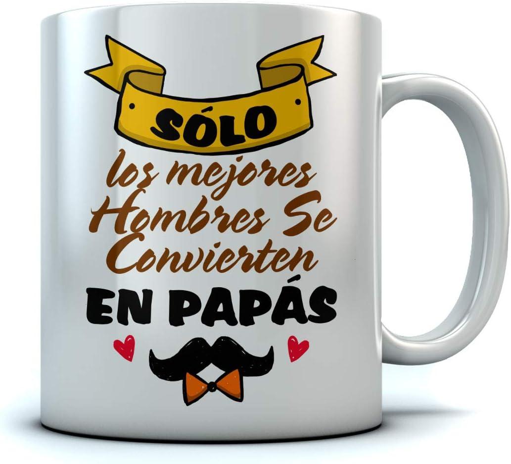 Taza - Regalos Originales Para Padres Primerizos, Anuncio Embarazo - Los Mejores Hombres se Convierten en Papá 350ml Blanco