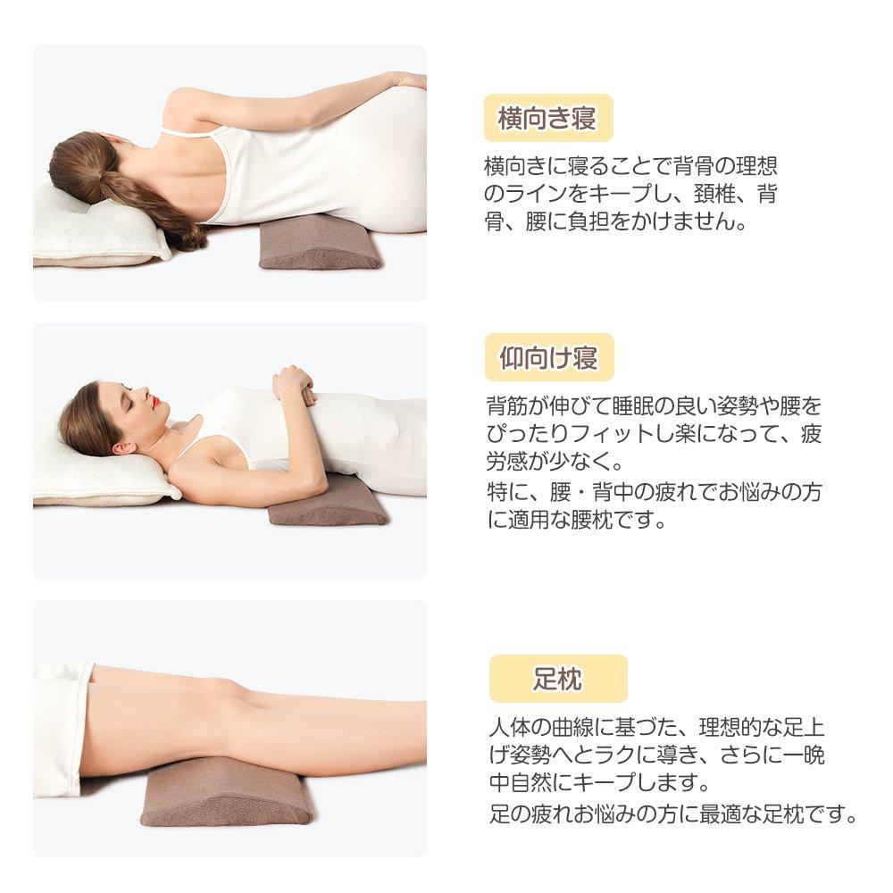 人体の曲線に基づいた腰枕