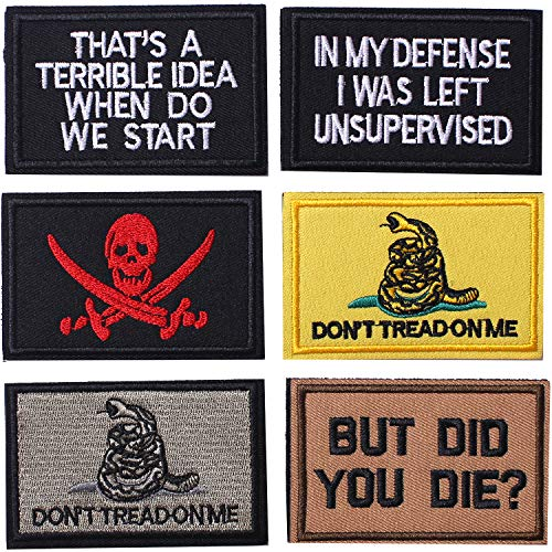 AXEN 6 Pieces Don't Tread On Me But Did You Die Tactical Morale Patch Full Embroidery Military Patch Set for Caps,Bags,Backpacks,Clothes,Vest,Military Uniforms,Tactical Gears Etc