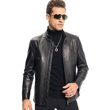 96f09746d862 LINAILIN Men s Casual Genuine Sheepskin Leather Coat Autumn Stand Collar Thin  Jacket - Black -