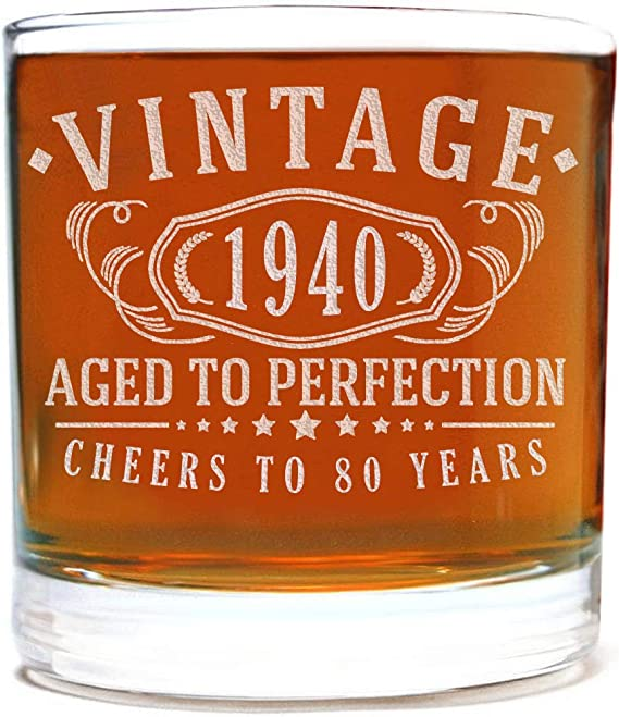 Vintage 1940 Etched 11oz Whiskey Rocks Glass - 80th Birthday Aged to Perfection - 80 years old gifts Bourbon Scotch Lowball Old Fashioned