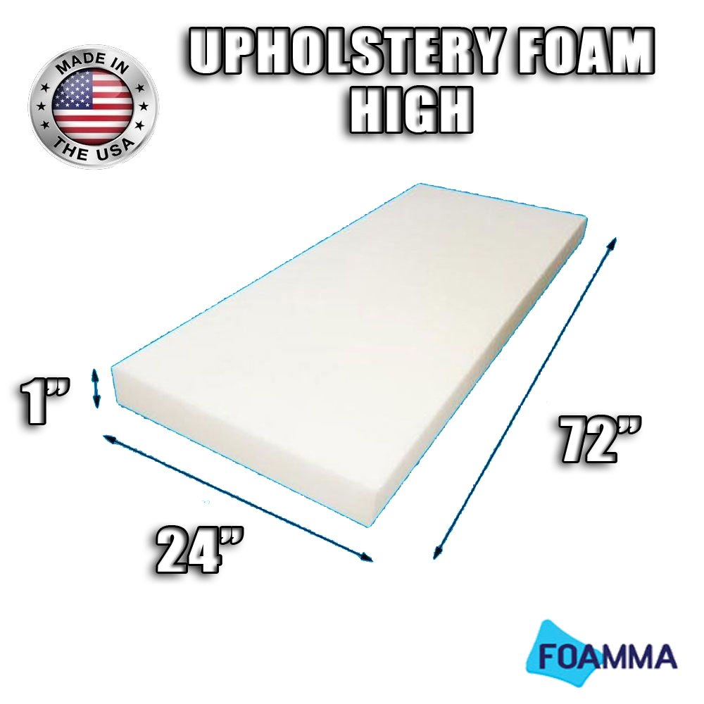 "FOAMMA High Density Upholstery Foam Cushion (Seat Replacement , Upholstery Sheet , Foam Padding) Fast! Made in USA!! (1"" x 24"" x 72"")"