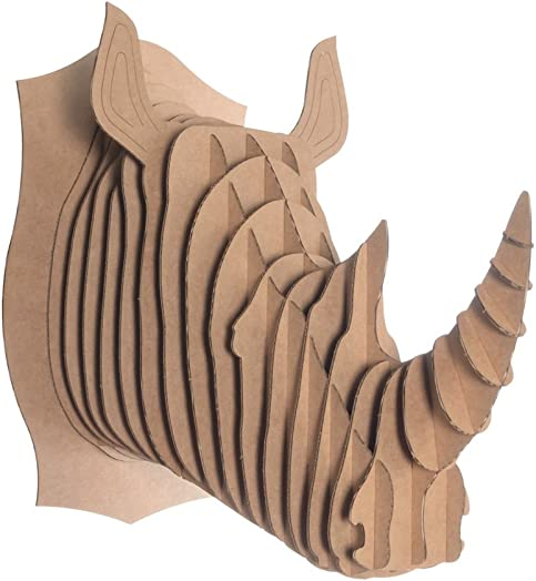 Cardboard Safari Recycled Cardboard Animal Taxidermy Rhino Trophy Head, Robbie Brown Medium