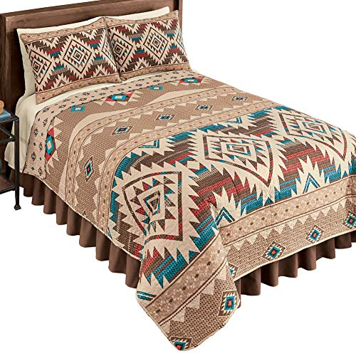 Collections Etc Reversible Southwest Geometric Aztec Quilt with Coordinating Tribal Pattern on Reverse Side, Full/Queen