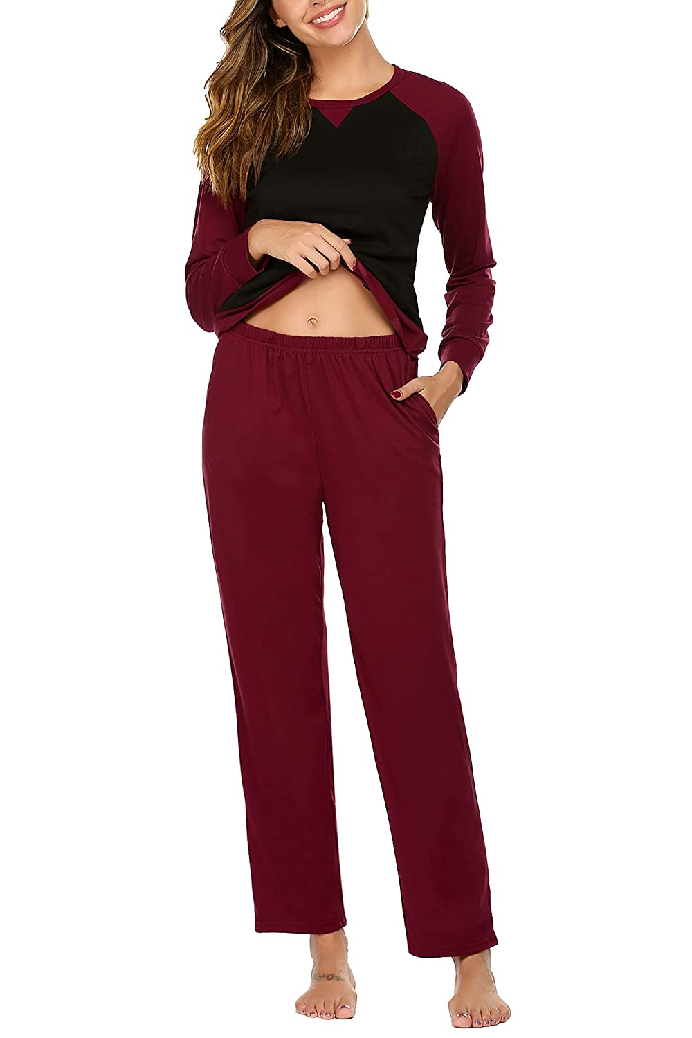 Ekouaer Womens Pajama Set Long Sleeve Pajama Soft Sleepwear Tops and Pants Pj Set
