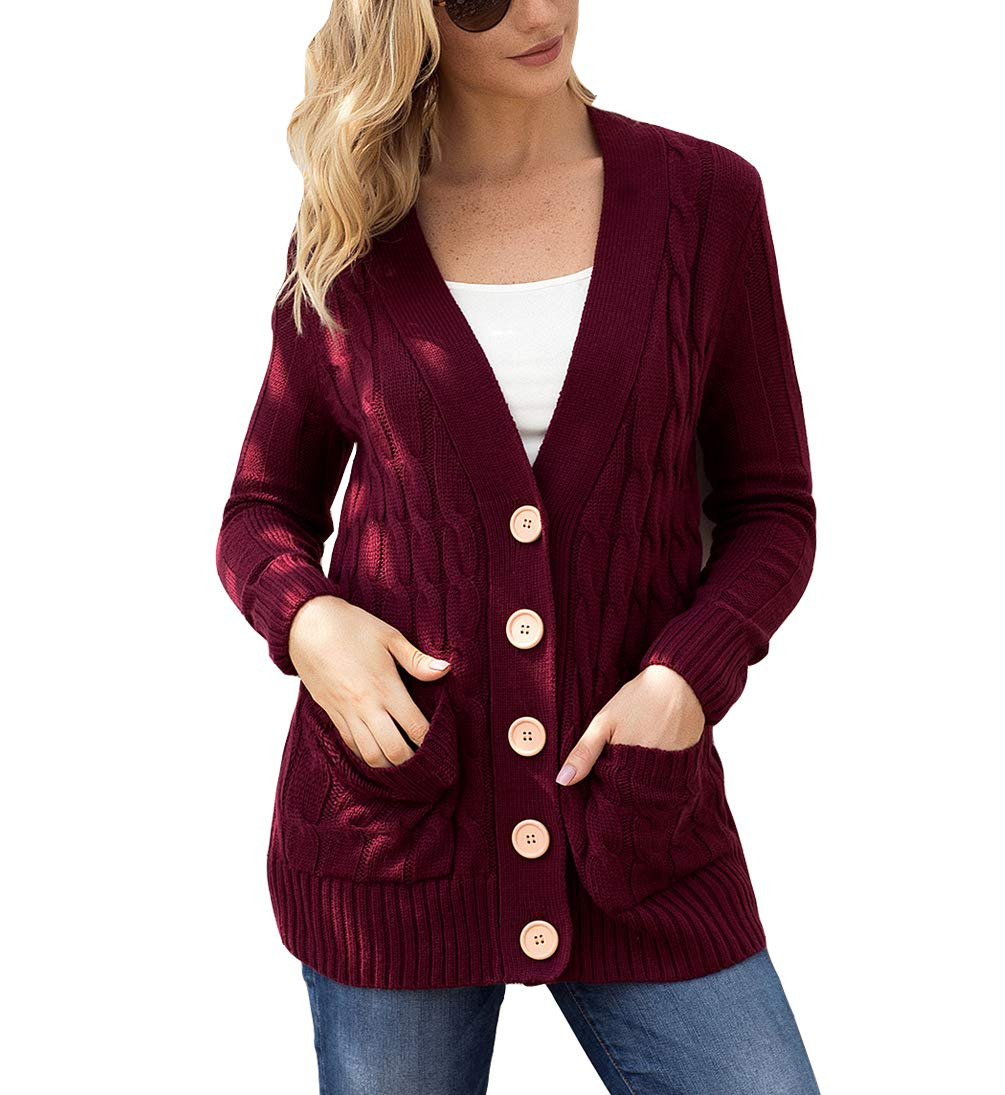 Eternatastic Womens Knit Cardigans Button Cable Sweater Coat Pullover Top XXL Red