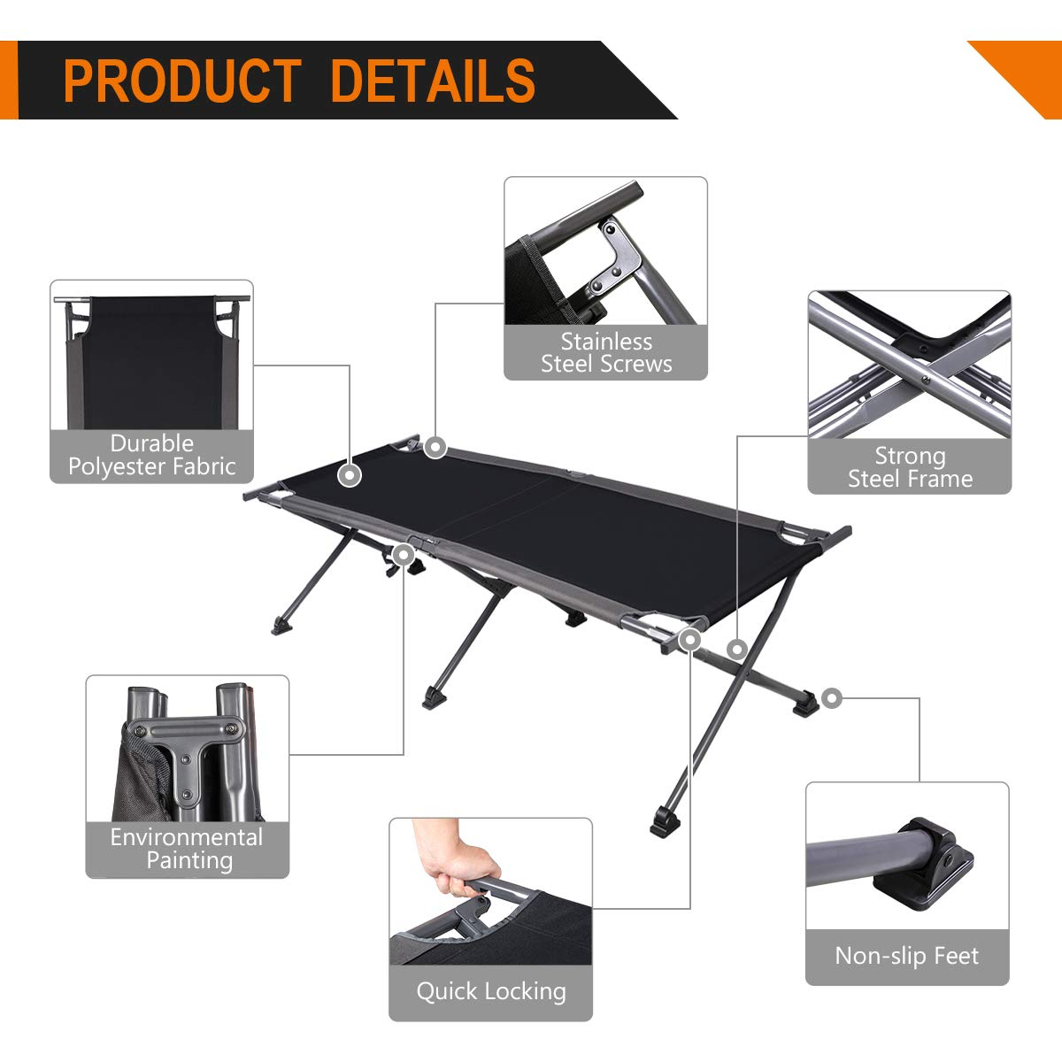 Compact Collapsible Heavy Duty Adult Sleeping Cot Bed with Storage Bag PORTAL Folding Camping Cot Great for Travel Tent Support 300lbs Hengfeng