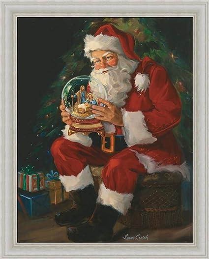santa believes susan comish santa claus holding nativity snow globe