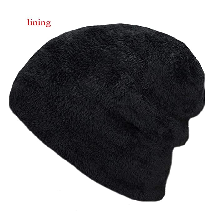Mens Winter hat Fashion Knitted Black Hats Fall Hat Thick and Warm and Bonnet Skullies Beanie Soft Knitted Beanies Cotton (Black) at Amazon Mens Clothing ...