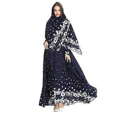 0445af3f86e Meijunter Robe Longue Musulmane avec Hijab pour Femme - Robe Ethnique à Manches  Longues Abaya Dubai Kaftan pour Ramadan M-XXL  Amazon.fr  Vêtements et ...