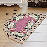 HOMEE Carpet Door Entrance Hall Kitchen Mat Bedroom Feet Toilet Water Absorption of Anti-Skid Mats,Red Button,50X80Cm Semicircle