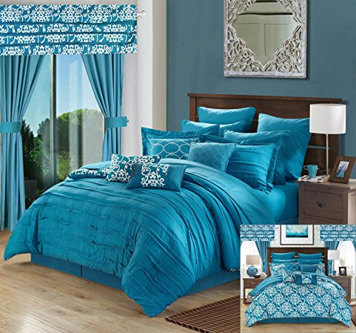 Perfect Home 24 Piece Orinda Complete Pleated ruffles and Reversible Printed Queen Bed In a Bag Comforter Set with window treatement, Teal. Sheets (Queen Four Piece Bedding Ensemble)