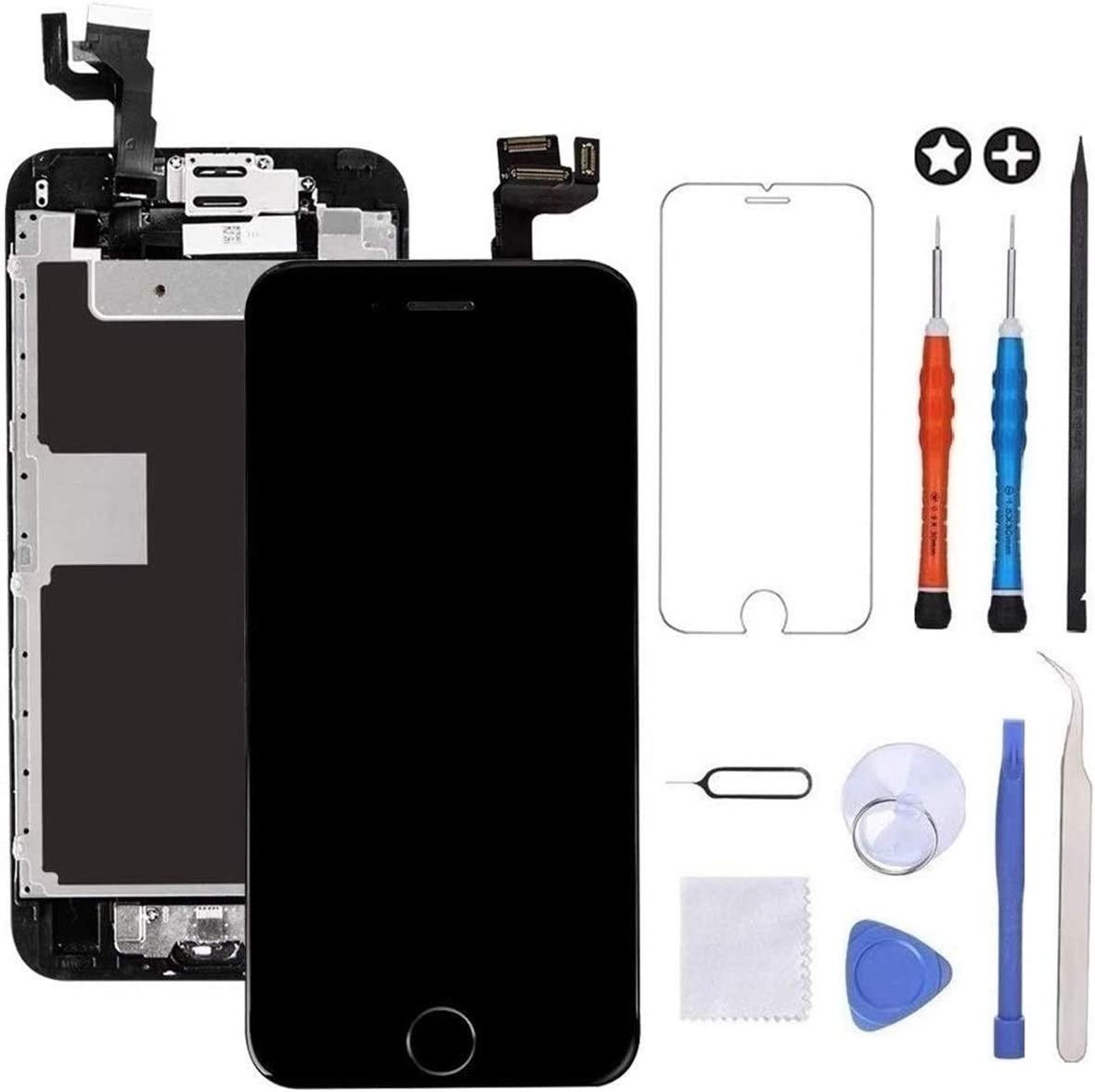 LCD Touch Display Digitizer with Sensors and Front Camera Fit Compatible with iPhone 6 Plus-White Screen Replacement Compatible with iPhone 6 Plus Full Assembly