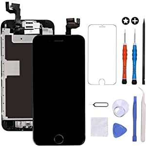 GULEEK for iPhone 6s Plus Screen Replacement Black Touch Display LCD Digitizer Full Assembly with Front Camera,Proximity Sensor,Ear Speaker and Home Button Including Repair Tool and Screen Protector