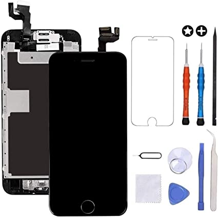 Screen Replacement for iPhone 6S White with Home Button and Camera A1700,with Proximity Sensor Ear Speaker,Tempered Glass Repair Tools Bsz4uov 3D Touch Screen Digitizer Replacement for A1633 A1688