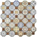 "SomerTile FOSTESML Abacu Ceramic Floor & Wall Tile, 12.25"" x 12.25"", Multi,,, Blue, Brown, Beige, Orange"