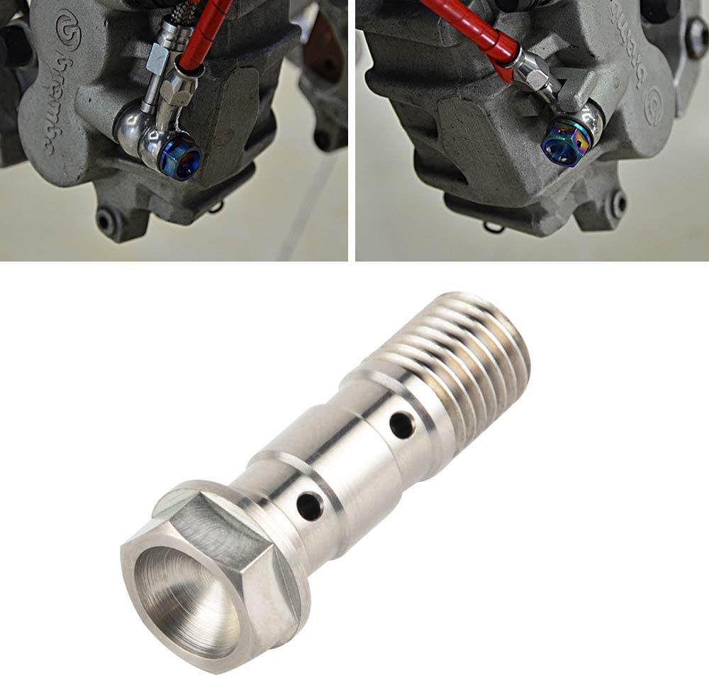 Nicecnc 2PCS ATV Titanium Double Hydraulic Brake Banjo Bolt Screw 10mm x 1.25 Pitch 35MM Replace Honda Kawasaki Yamaha Suzuki,ForNissin Single Brake Line