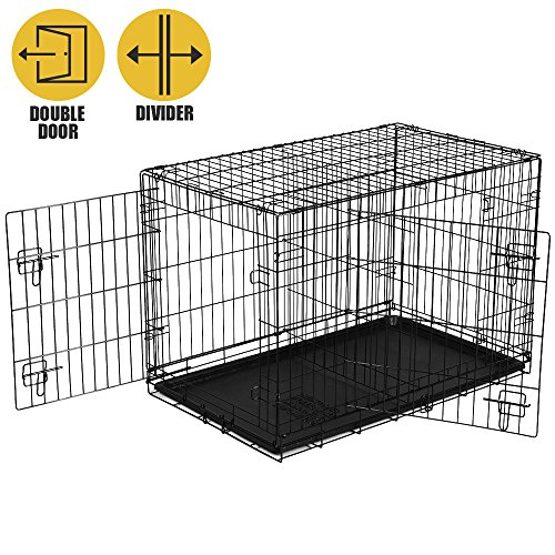 BV Pet Double Door Folding Dog Crate Metal Kennel with Divider