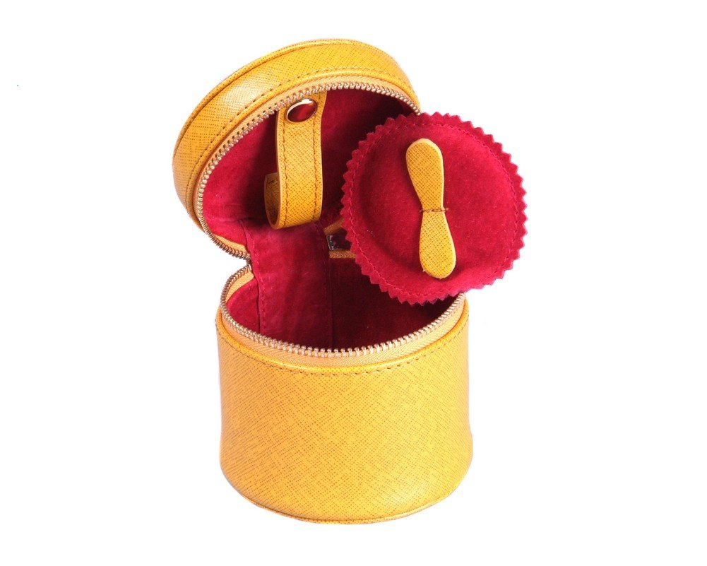 SAGEBROWN Yellow Cylindrical Jewellery Case