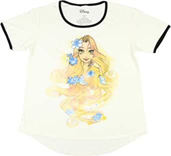 Disney Tangled Shirt Juniors Rapunzel Sketch Floral Ringer T-Shirt