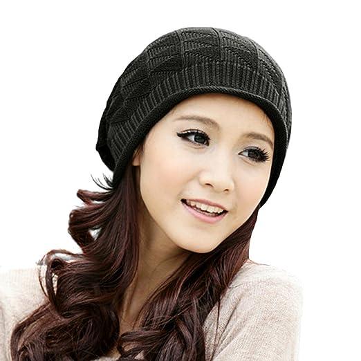 Locomo Hats Women Girl Pattern Slouchy Knit Beret Beanie Crochet Rib