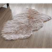 OJIA Deluxe Soft Faux Sheepskin Chair Cover Seat Pad Plain Shaggy Area Rugs For Bedroom Sofa Floor (Light Coffee, 2ft x 3ft)