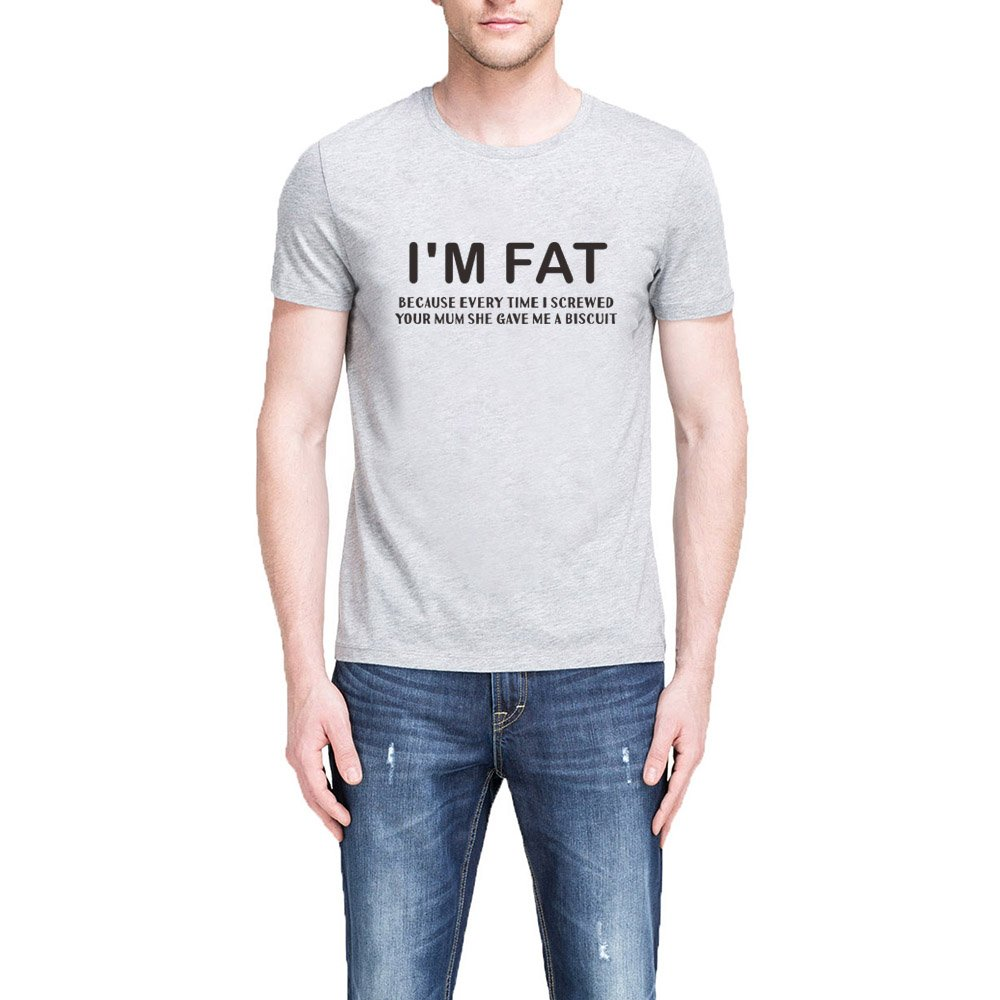S I M Fat Because T Shirts Our Mother Offensive Banter Joke Biscuit Tee