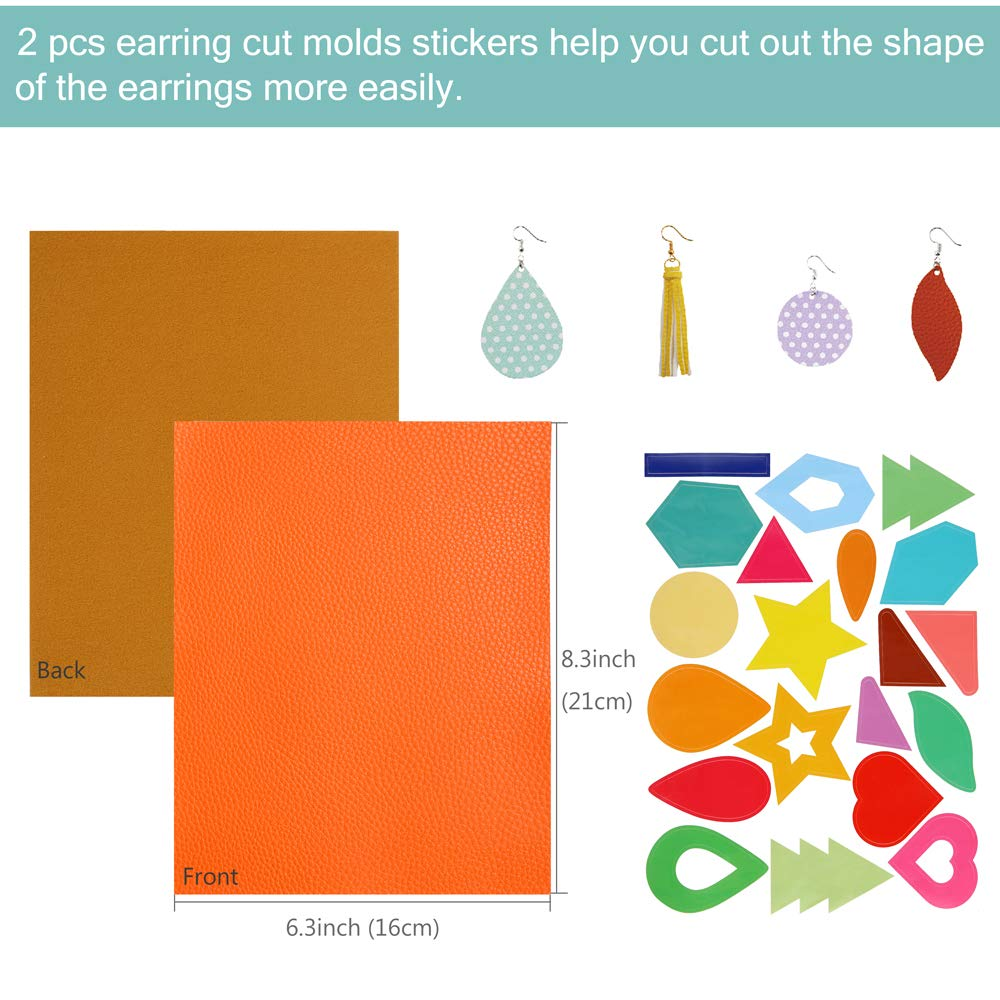 Earring Cut Molds Stickers Caydo 32 Pieces Faux Leather Fabric Sheets with Instructions Jump Rings 6.3 x 8.3 inch and Tools for Leather Earring Making Earring Hooks