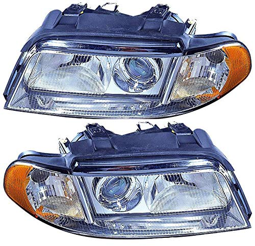 For 1999 2000 2001 2002 Audi A4 / S4 Headlights Headlamps Assembly Driver Left and Passenger Right Side Pair Set Replacement AU2502107 AU2503107