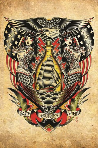 Safe Journey Home by Tyler Bredeweg Nautical Traditional Tattoo Wall Art Print