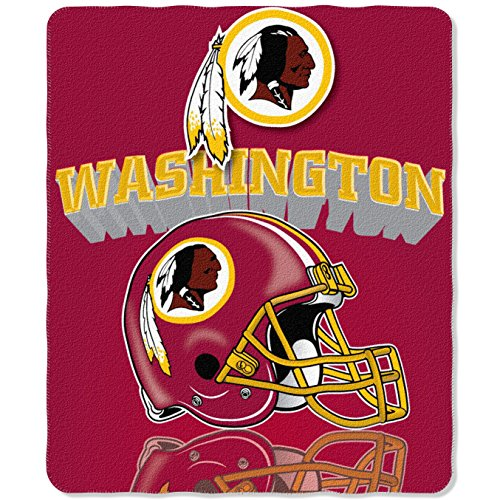 NFL Washington Redskins Gridiron Fleece Throw, 50-inches x 60-inches ()