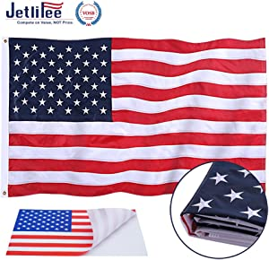 Jetlifee American Flag 2.5x4 Ft Embroidered Stars, Sewn Stripes, Brass Grommets US Flag.Outdoors Indoors USA Flags Polyester 2.5 x 4 Foot