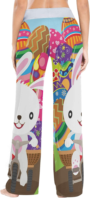 Easter Bunny Eggs Print Womens Pajama Bottoms Sleepwear Loose Palazzo Casual Drawstring Yoga Pants XS