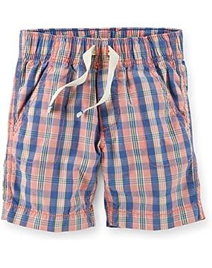 Carter's Boy's Pull-On Plaid Poplin Shorts, Blue/Pink