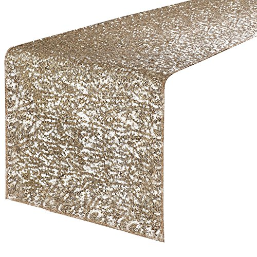 (PONY DANCE Sequins Table Runner - Rectangle Glitzy Sparkling Decorative Table Runners, Event Dinner Birthday Party/Wedding/Christmas Decor,14 by 108 inch, Light Gold)
