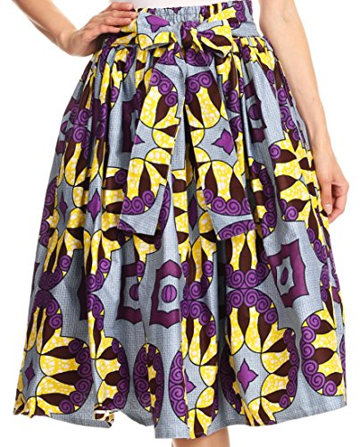Sakkas 16321 - Celine African Dutch Ankara Wax Print Full Circle Skirt - 529-DustyBlueMulti - - Uk Stores Celine