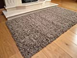 Soft Touch Shaggy Taupe Thick Luxurious Soft 5cm Dense Pile Rug. Available in 7 Sizes (66cm x 120cm)